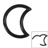 Steel Crescent Moon Hinged Clicker Ring - SKU 34871