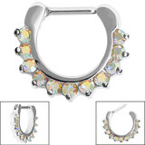 Steel Claw Set Jewelled Clicker Ring - SKU 34892