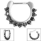 Steel Claw Set Jewelled Clicker Ring - SKU 34893