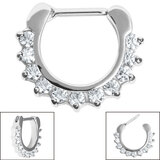 Steel Claw Set Jewelled Clicker Ring - SKU 34905