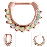 Steel Claw Set Jewelled Clicker Ring - SKU 34906