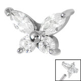Steel Claw Set Jewelled Butterfly for Internal Thread shafts in 1.2mm (0.9mm) - SKU 34966
