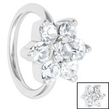 Steel Claw Set Jewelled Flower - Cartilage Ring - SKU 34988