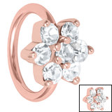Steel Claw Set Jewelled Flower - Cartilage Ring - SKU 34991