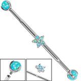 Titanium Internally Threaded Industrial Scaffold Barbells 1.6mm with Titanium Set Opal balls - midway Steel 5 Point Claw Set Opal Flower - SKU 34997