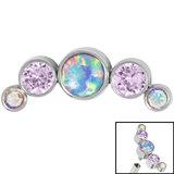 Titanium (Infinity) Bezel Set 5 Opal and Jewels Crescent for Internal Thread shafts in 1.2mm (0.9mm) - SKU 35003