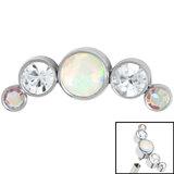 Titanium (Infinity) Bezel Set 5 Opal and Jewels Crescent for Internal Thread shafts in 1.2mm (0.9mm) - SKU 35004