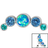 Titanium (Infinity) Bezel Set 5 Opal and Jewels Crescent for Internal Thread shafts in 1.2mm (0.9mm) - SKU 35005