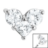 Steel Claw Set CZ Trio Jewelled Heart for Internal Thread shafts in 1.2mm (0.9mm) - SKU 35095