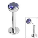 Titanium Threadless Labrets - Titanium Bezel Set Jewelled Balls - SKU 35144
