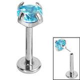 Titanium Threadless Labrets - Titanium (Bend-fit) Claw Set CZ Jewels - SKU 35220