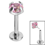 Titanium Threadless Labrets - Titanium (Bend-fit) Claw Set CZ Jewels - SKU 35223