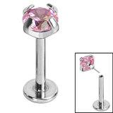 Titanium Threadless Labrets - Titanium (Bend-fit) Claw Set CZ Jewels - SKU 35227