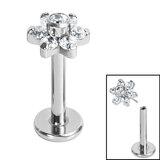 Titanium Threadless Labrets - Titanium Claw Set CZ Jewelled Flower - SKU 35298