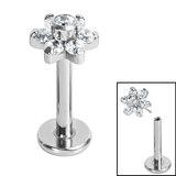 Titanium Threadless Labrets - Titanium Claw Set CZ Jewelled Flower - SKU 35300