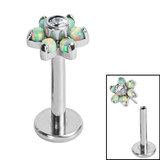 Titanium Threadless Labrets - Titanium Claw Set Synth Opal and CZ Jewelled Flower - SKU 35307