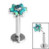 Titanium Threadless Labrets - Titanium Claw Set Synth Opal and CZ Jewelled Flower - SKU 35309