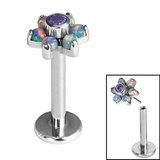 Titanium Threadless Labrets - Titanium Claw Set Synth Opal and CZ Jewelled Flower - SKU 35314