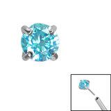 Titanium Threadless (Bend fit) Claw Set CZ Jewels - SKU 35336