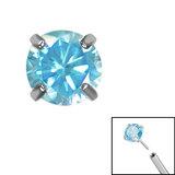 Titanium Threadless (Bend fit) Claw Set CZ Jewels - SKU 35340