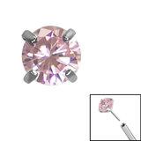 Titanium Threadless (Bend fit) Claw Set CZ Jewels - SKU 35341