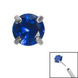 Titanium Threadless (Bend fit) Claw Set CZ Jewels - SKU 35342