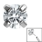 Titanium Threadless (Bend fit) Claw Set CZ Jewels - SKU 35346