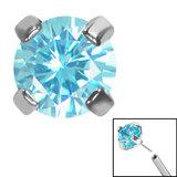 Titanium Threadless (Bend fit) Claw Set CZ Jewels - SKU 35348