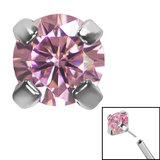 Titanium Threadless (Bend fit) Claw Set CZ Jewels - SKU 35349