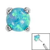 Titanium Threadless (Bend fit) Claw Set Synth Opals - SKU 35354