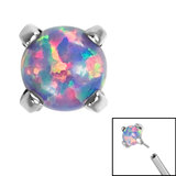 Titanium Threadless (Bend fit) Claw Set Synth Opals - SKU 35355