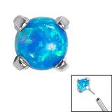 Titanium Threadless (Bend fit) Claw Set Synth Opals - SKU 35356