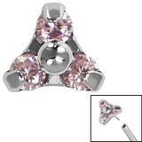 Titanium Threadless (Bend fit) Claw Set CZ Jewelled Trinity - SKU 35360