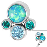 Titanium (Infinity) Bezel Set Opal and Jewel Cluster for Internal Thread shafts in 1.2mm (0.9mm) - SKU 35411