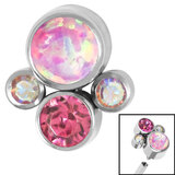 Titanium (Infinity) Bezel Set Opal and Jewel Cluster for Internal Thread shafts in 1.2mm (0.9mm) - SKU 35412