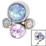 Titanium (Infinity) Bezel Set Opal and Jewel Cluster for Internal Thread shafts in 1.2mm (0.9mm) - SKU 35413