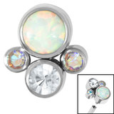 Titanium (Infinity) Bezel Set Opal and Jewel Cluster for Internal Thread shafts in 1.2mm (0.9mm) - SKU 35414