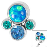 Titanium (Infinity) Bezel Set Opal and Jewel Cluster for Internal Thread shafts in 1.2mm (0.9mm) - SKU 35415
