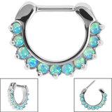 Steel Claw Set Opal Clicker Ring - SKU 35416