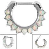 Steel Claw Set Opal Clicker Ring - SKU 35417
