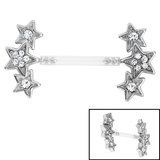 Bioflex Push-fit Triple Jewelled Star Nipple Bar - SKU 35422