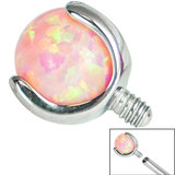 Titanium Claw Set Opal Ball for Internal Thread shafts in 1.6mm (1.2mm). Also fits Dermal Anchor - SKU 35513