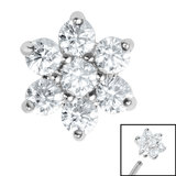 Steel Claw Set 6 Point CZ Primrose Flower for Internal Thread shafts in 1.2mm (0.9mm) - SKU 35530