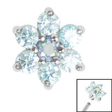 Steel Claw Set 6 Point CZ Primrose Flower for Internal Thread shafts in 1.2mm (0.9mm) - SKU 35531