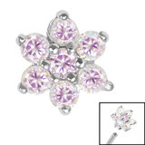 Steel Claw Set 6 Point CZ Primrose Flower for Internal Thread shafts in 1.2mm (0.9mm) - SKU 35532