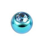 Titanium Threaded Jewelled Balls 1.2x4mm Turquoise metal, Light Blue Gem