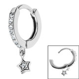 Surgical Steel Huggie Clicker Ear Ring - Jewelled Star Dangle - SKU 35722