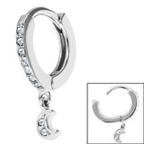 Surgical Steel Huggie Clicker Ear Ring - Jewelled Crescent Moon Dangle - SKU 35723