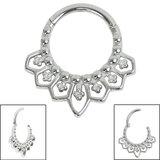 Steel Mandala Hinged Clicker Ring - SKU 35724