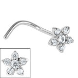 Steel Claw Set 5 Petal Jewelled Flower Nose Stud - SKU 35743